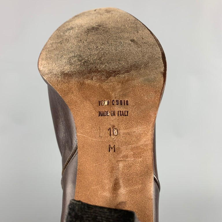 DONALD J PLINER Size 10 Brown Leather Studded Fringe Pointed Toe Boots For Sale 1