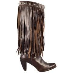 DONALD J PLINER Size 10 Brown Leather Studded Fringe Pointed Toe Boots