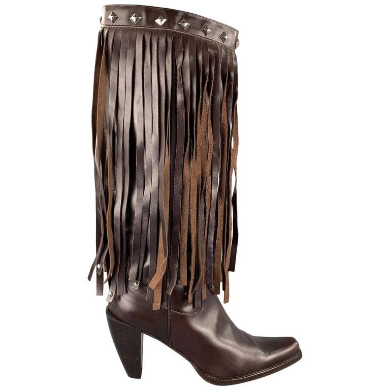 DONALD J PLINER Size 10 Brown Leather Studded Fringe Pointed Toe Boots For Sale