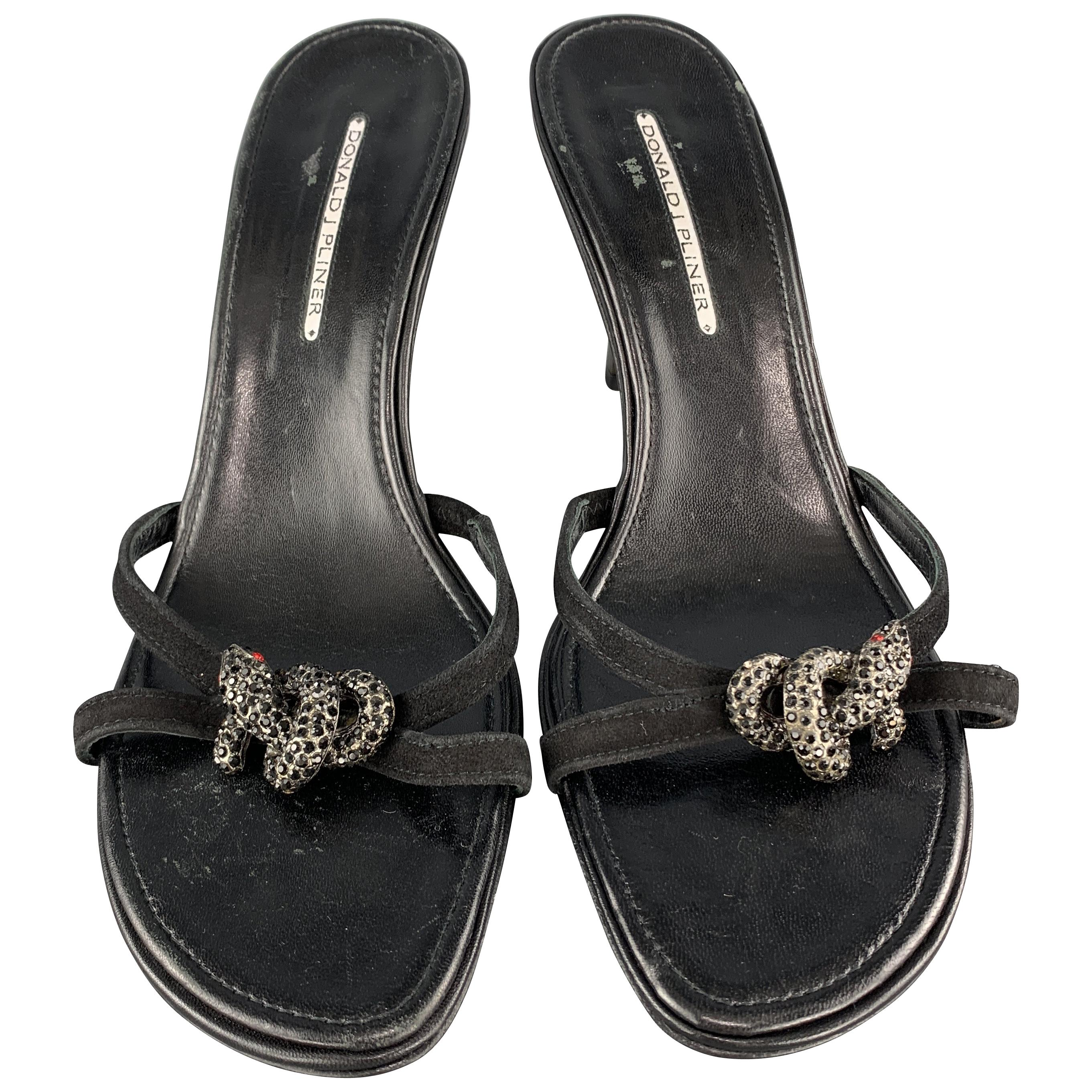 DONALD J PLINER Size 11.5 Black Leather Rhinestone Snake Strap Mule Sandals