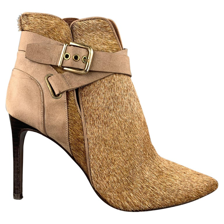 DONALD J PLINER Size 7 Tan Leather Ankle Boots For Sale