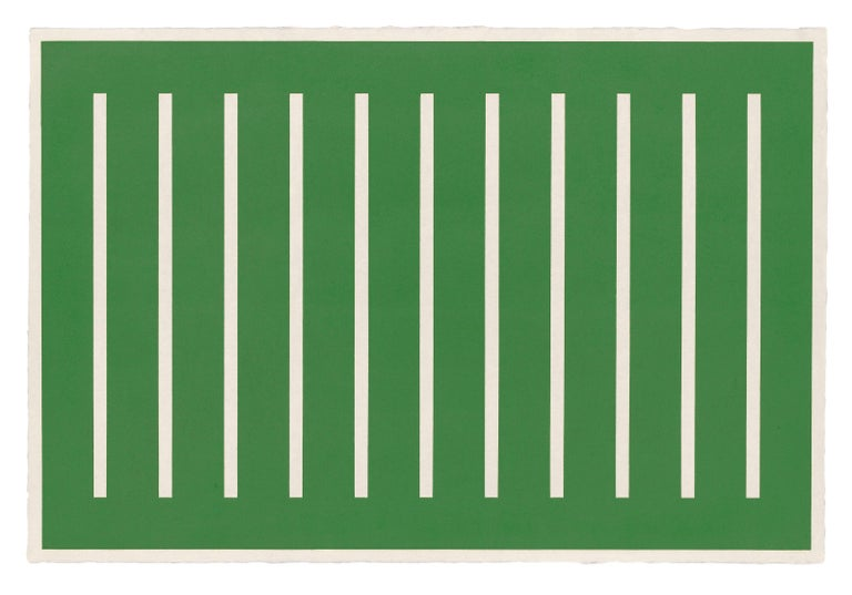 DONALD JUDD Untitled, 1991  Woodcut printed in oxide of chromium (green), on Japanese Mitsumata laid paper Signed and inscribed PP verso One of four printer's proofs aside from the edition of 25 Printed by Derrière L'Etoile Studios, New
