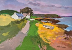 'Boats on the Shore' Modern British Colourful Painting of Scotland with cottage