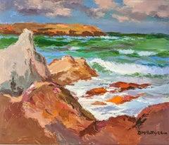 'Calf Island, Iona' Colourful Landscape painting of the sea, rocks and coastline