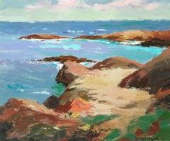 Calm Sea, Lindisfarne - Acrylic painting of Northumberland's holy island