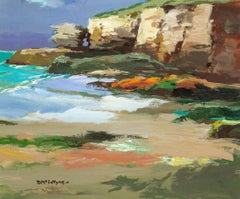 Cliffs, North Cornwall - Acrylic painting of Cornish Sea & Cliffs