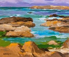Colourful Modern British Seascape of Iona, Scotland 'Lobster Boat' Sea, Rocks