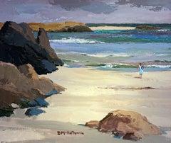 Figure in White - Beach Scene by Donald McIntyre - Acrylic