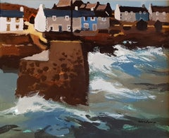 Modern British Seascape Painting 'Cottages by the Harbour' by Donald McIntyre