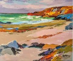 'Rocky Shore' Colourful landscape painting of coastline, sea, rocks and beach