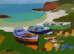 'Three Fishing Boats on the Shore', West coast of Scotland, Beach Scene