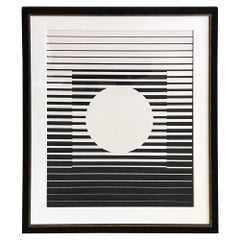 Donald Roberts Black and White Op Art Lithograph, 1966