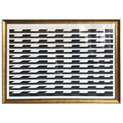 Donald Roberts Op Art Black and White Lithograph