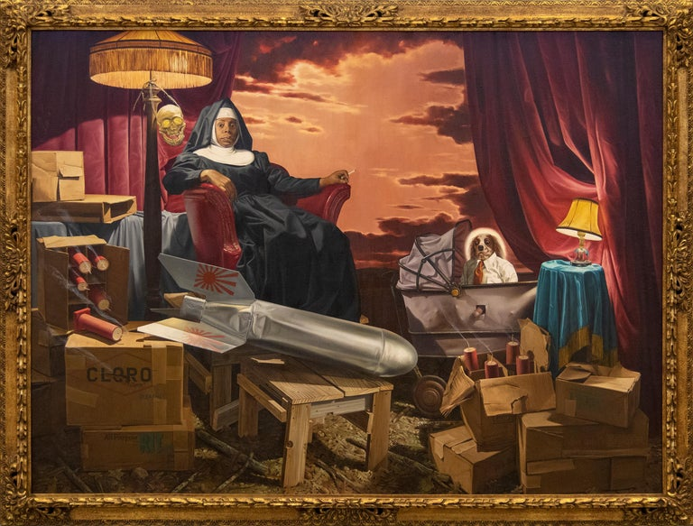 The Clone, the Fuse, and Sister Dinah Might - Painting by Donald Roller Wilson