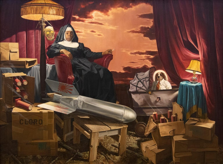 Donald Roller Wilson Still-Life Painting - The Clone, the Fuse, and Sister Dinah Might
