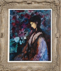 Black Hair, Purple Girl, Oil Painting by Donald Roy Purdy