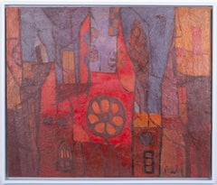 City Abstraction, mid modern abstract oil painting  Circa 1950's