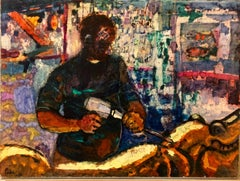 Coney Island Carousel Carver 'Woodworker' , Large Oil Painting