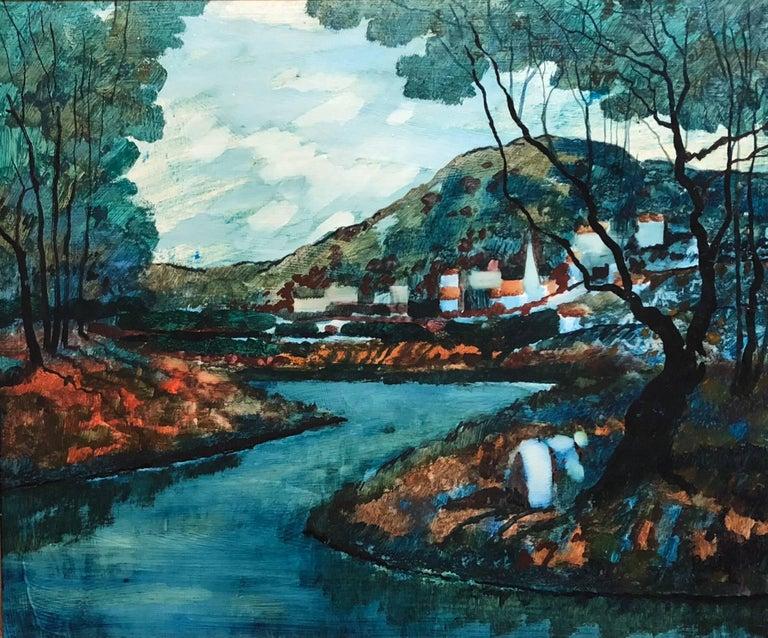 Modernist Landscape Oil Painting - Black Landscape Painting by Donald Roy Purdy