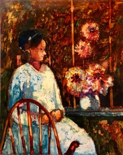 Modernist SUNDAY MORNING HARVEST Woman with Flowers Oil Painting