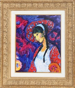 Purple Lady, Framed Oil Painting by Donald Roy Purdy