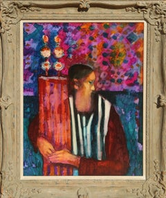 Rabbi, 1970s Oil Painting by Donald Roy Purdy