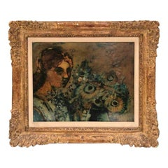 Donald Roy Purdy Woman and Flowers Oil Painting Signed Purdy, circa 1960s
