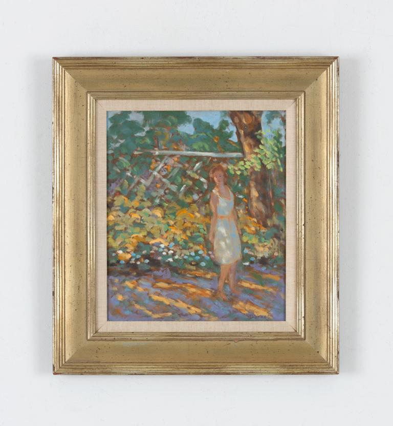 Figure in Garden - Painting by Donald S. Vogel