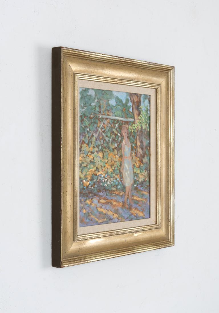 Figure in Garden - Brown Figurative Painting by Donald S. Vogel