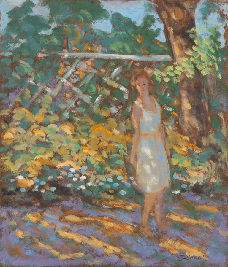 Donald S. Vogel Figurative Painting - Figure in Garden