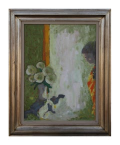 """Pensive Quiet"" Impressionist Interior Painting with Flowers and a Girl"