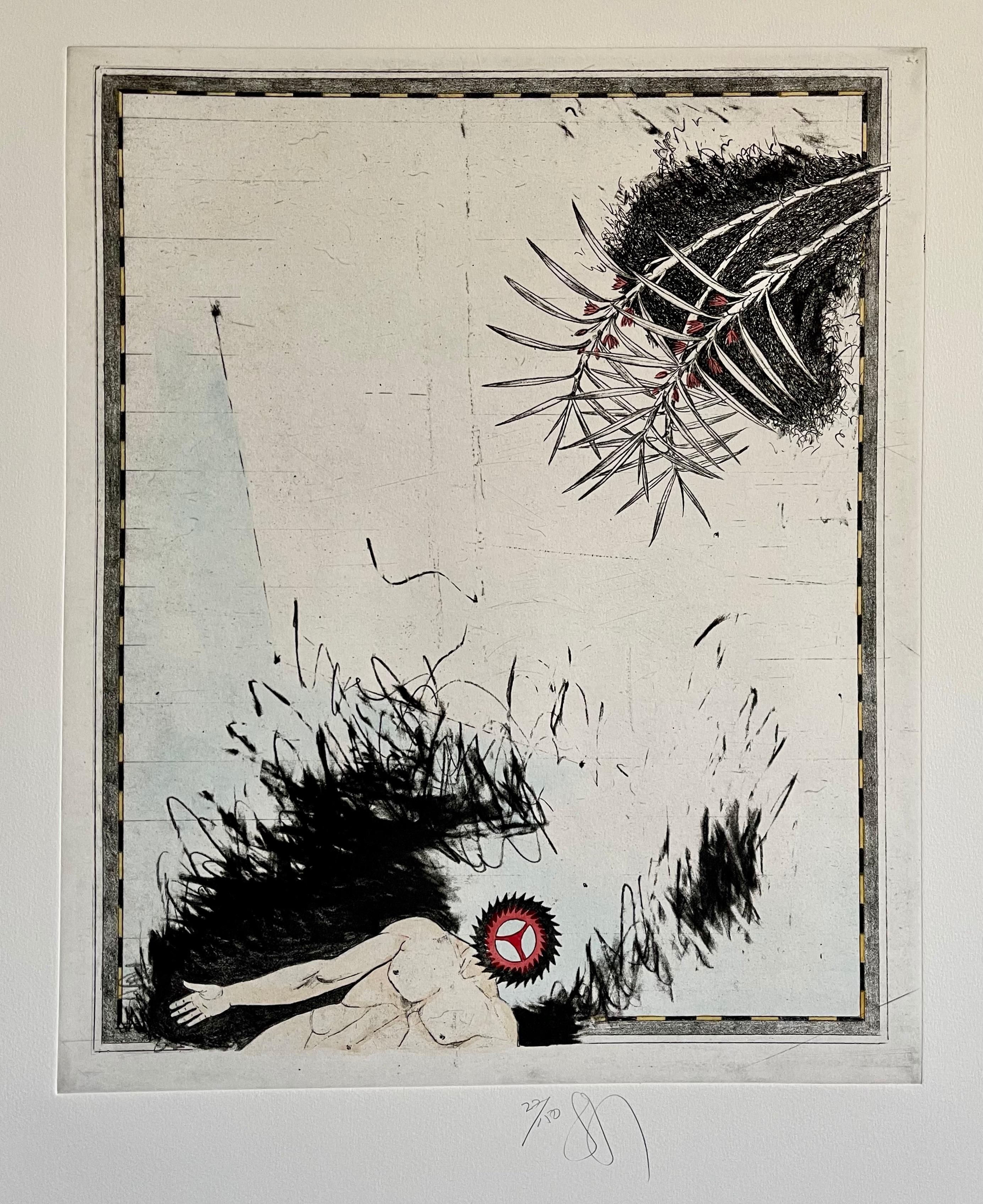 Large Donald Saff Surrealist Pop Art Aquatint Etching Action Figure Gearhead