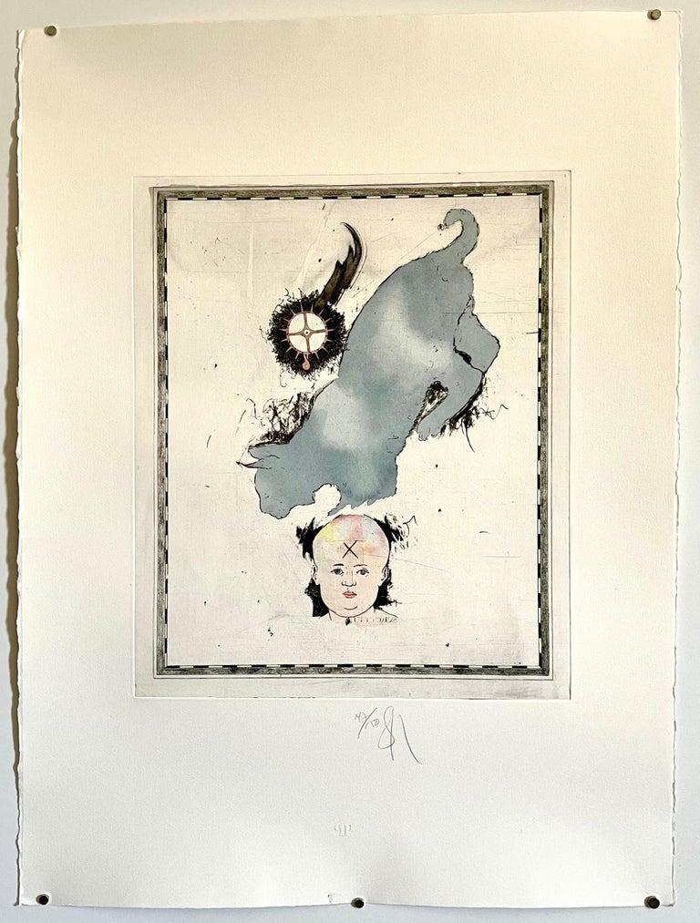 Large Donald Saff Surrealist Pop Art Aquatint Etching Blue cat with Baby  For Sale 2