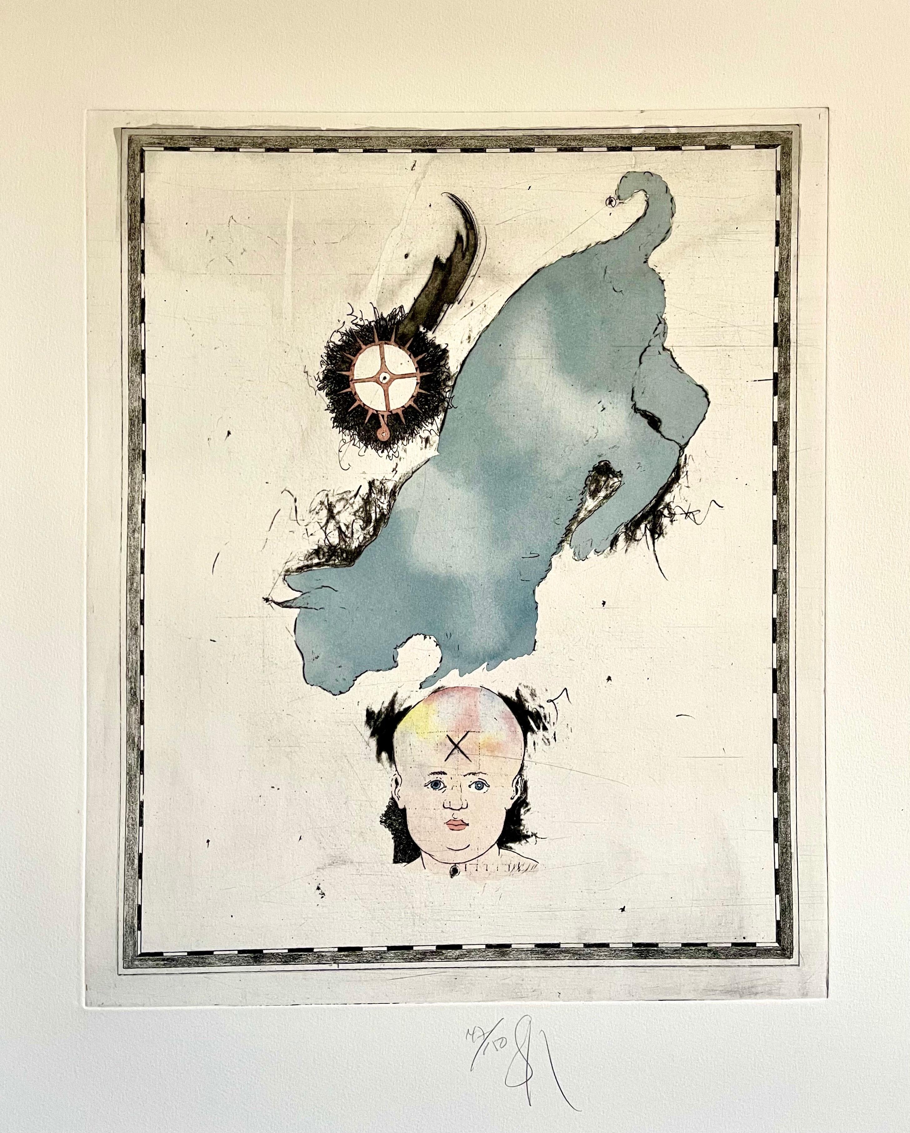 Large Donald Saff Surrealist Pop Art Aquatint Etching Blue cat with Baby