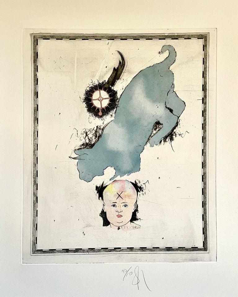 Large Donald Saff Surrealist Pop Art Aquatint Etching Blue cat with Baby  - Print by Donald Saff