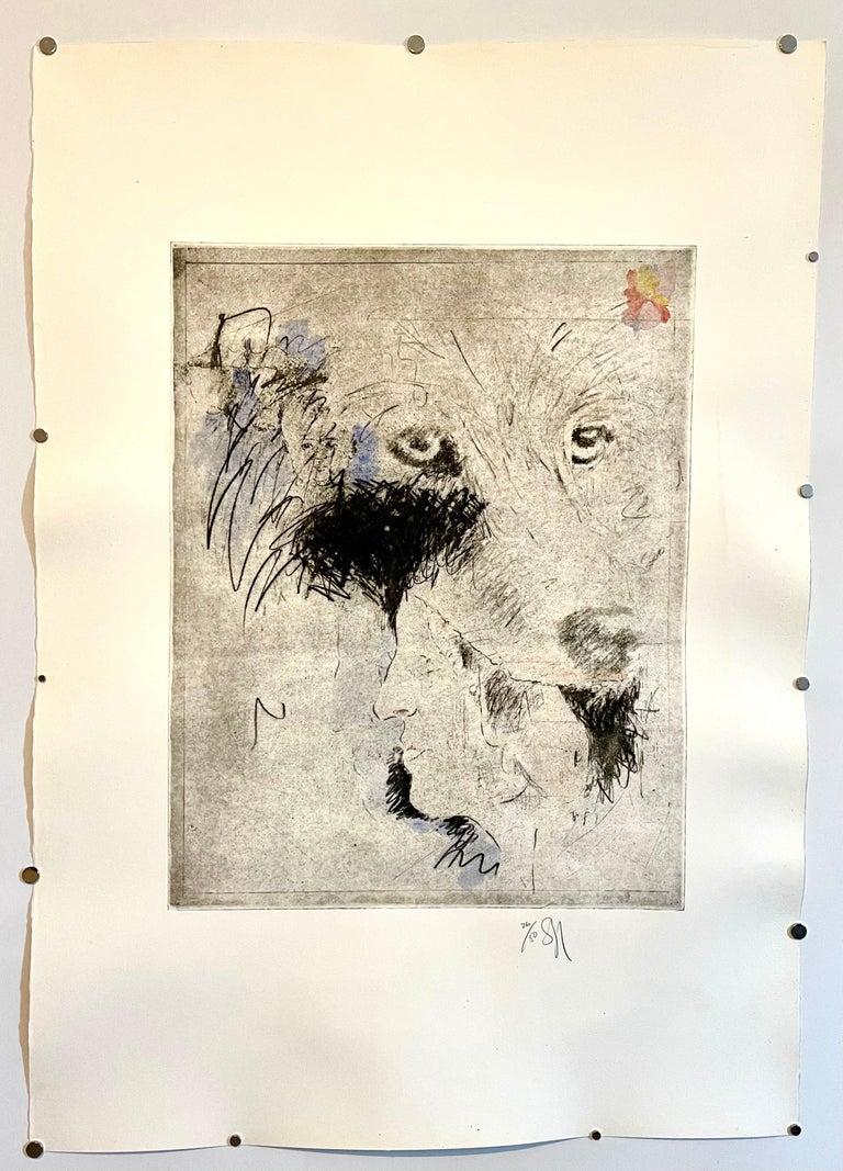 Large Donald Saff Surrealist Pop Art Aquatint Etching Wolf, Man For Sale 2