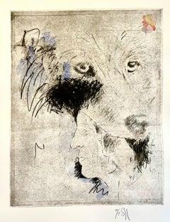 Large Donald Saff Surrealist Pop Art Aquatint Etching Wolf, Man