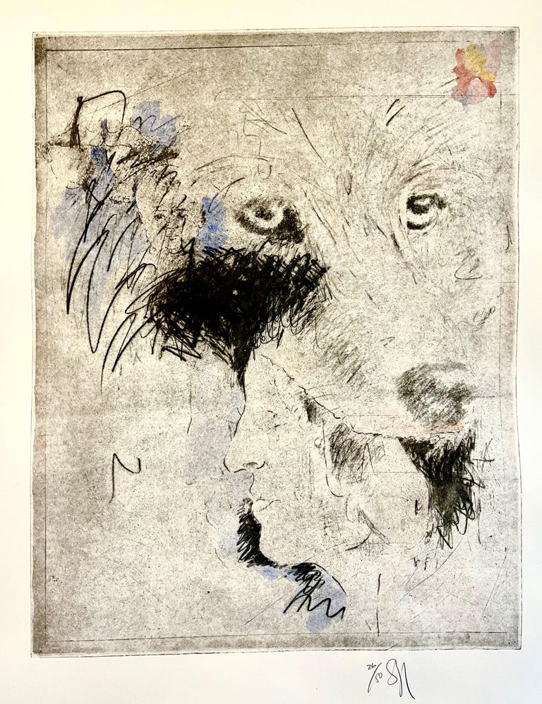 Large Donald Saff Surrealist Pop Art Aquatint Etching Wolf, Man - Print by Donald Saff