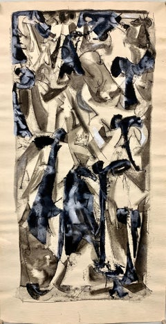 """1950s """"Abstract #4"""" Ink and Gouache Painting Univ of Paris"""