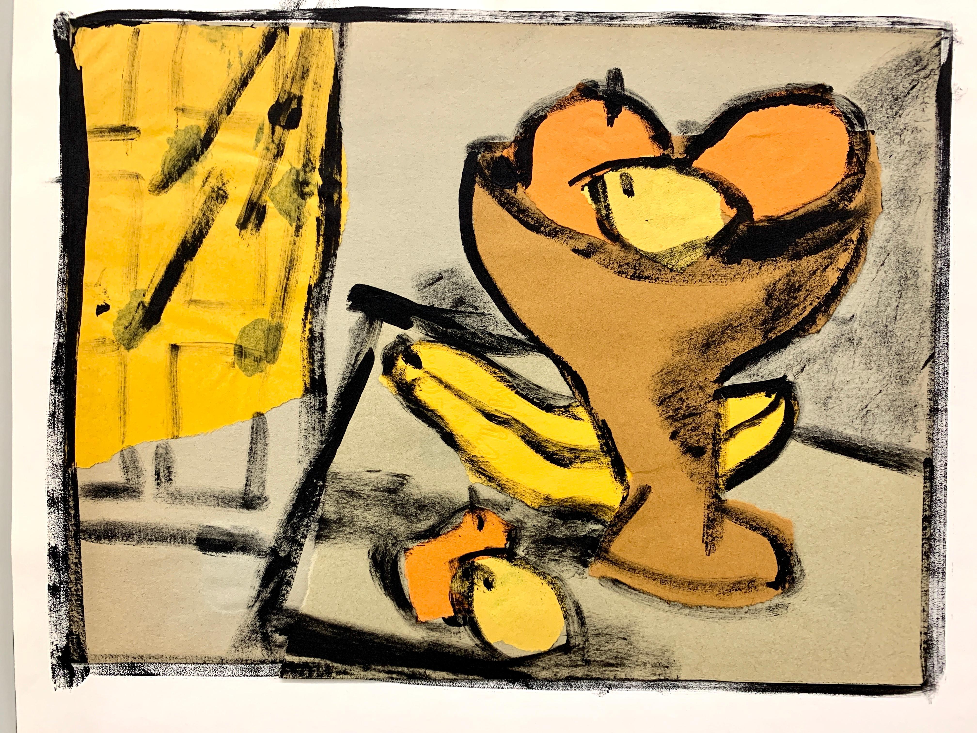 """1950s """"Be Still"""" Mid Century Still Life Painting University of Paris"""