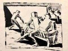 "1950s ""Cubed Figures on Bench"" MidCentury Figurative Gouache Original Painting"