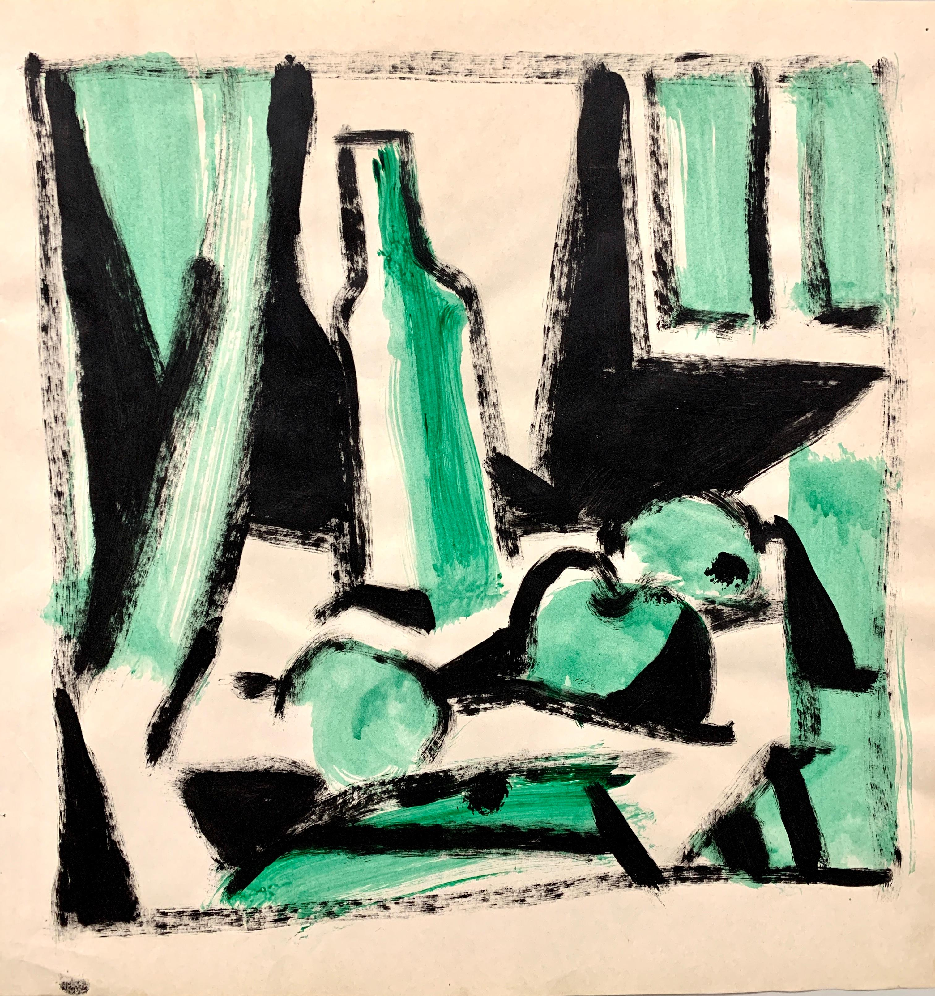 "1950s ""Fruit in Green"" MidCentury Still Life Painting MOMA Faculty Artist"