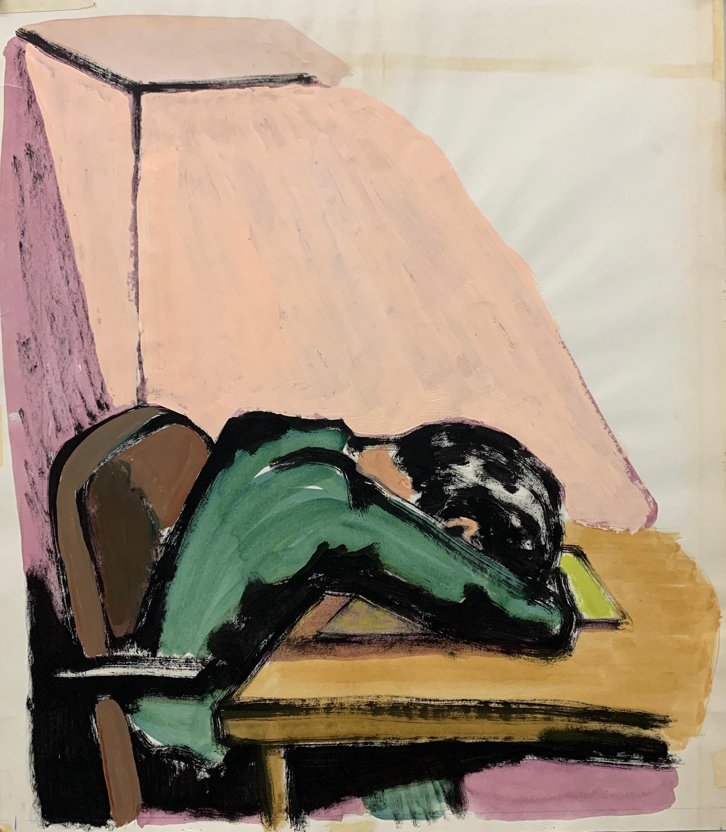 "1950s ""Head on Desk"" Mid Century Figurative Painting University of Paris"