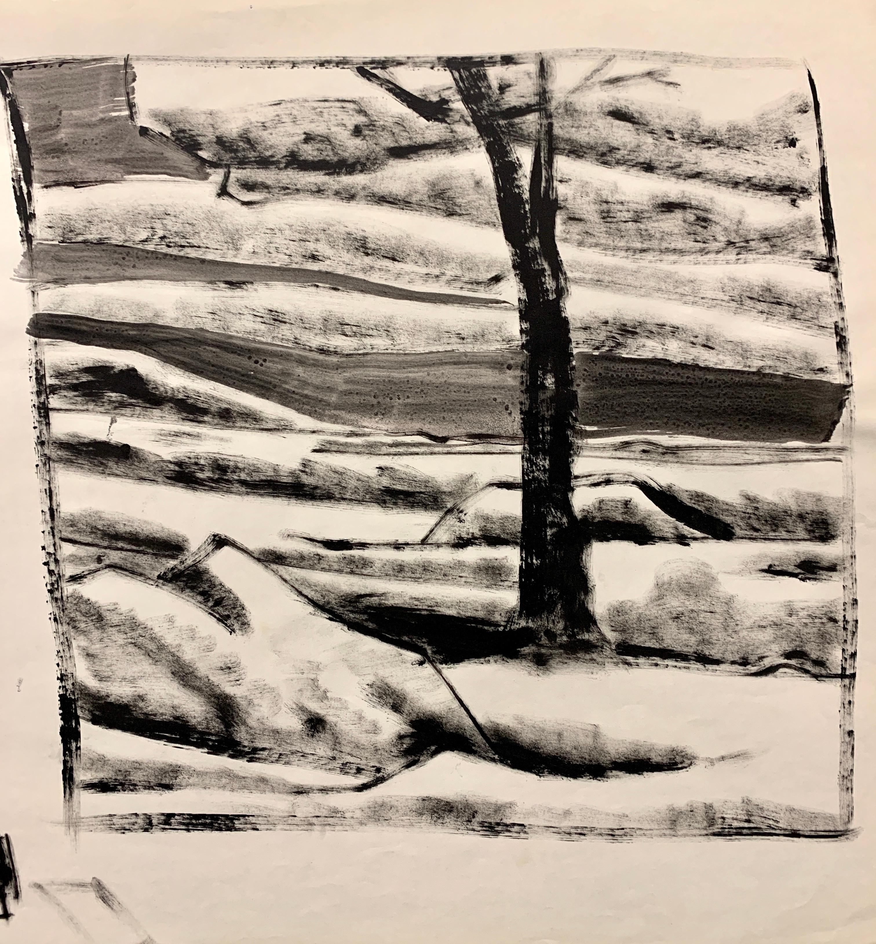 """1950s """"Landscape with Boulder"""" Donald Stacy Gouache Landscape Painting"""