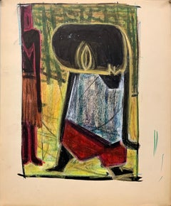 """1950s """"Mark"""" Oil Pastel and Gouache Figurative Painting NYC Modern Mid Century"""