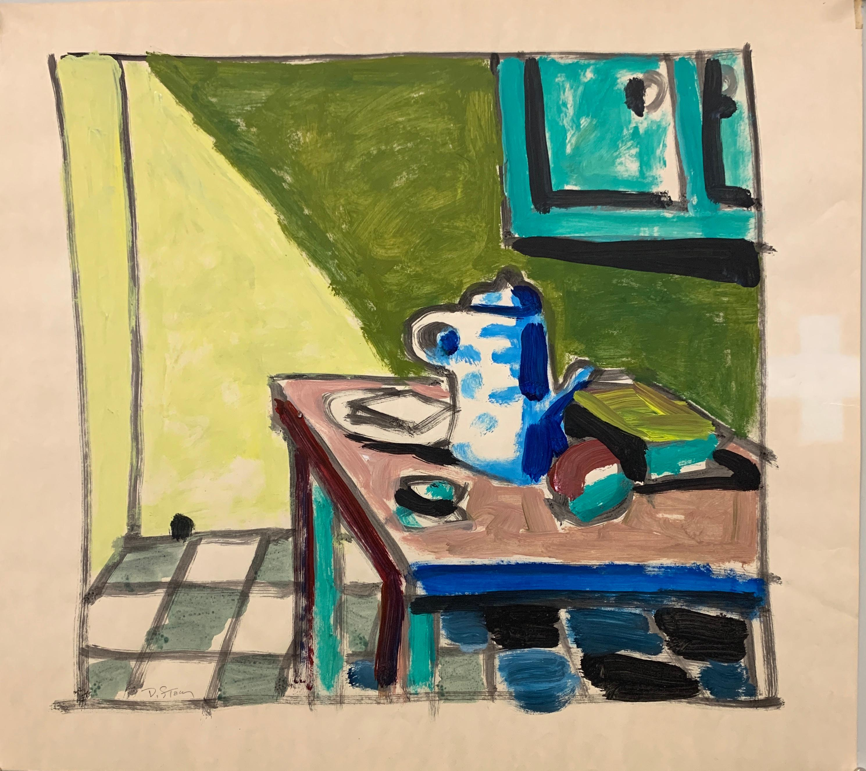 "1950s ""Mouse Hole Kitchen"" Mid Century Still Life Painting Art Students League"