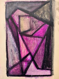 "1950s ""Purple Head"" Mid Century Oil and Pastel Portrait Original Drawing"