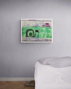 "1950s ""Purple Sky Landscape"" Mid Century Abstract Landscape Painting"