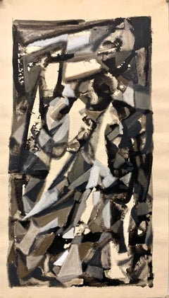 """1950s """"Study for Abstract #4"""" Ink and Gouache Original Abstract Painting"""