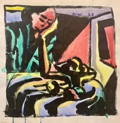 "1950s ""Women & Fruit"" Mid Century Figurative Painting University of Paris"